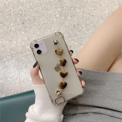 Carcasa De Telefono Estuche Blando De Cadena De Pulsera De Corazón De Amor De Terciopelo Transparente para iPhone 12 Pro MAX Mini 11 Pro MAX XR X XS M