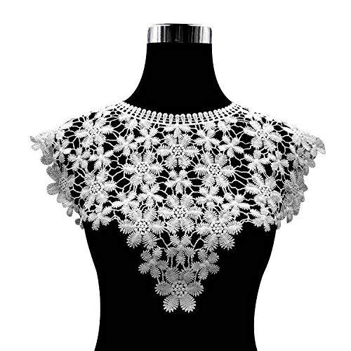 Gxbld-yy Luxus-weiße Baumwolle Stickerei Blumen SpitzeApplique Ausschnitt Collar Ordnungs-Hochzeits-Kleid Röcke Bekleidung DIY Sewing Guipure-Dekor (Farbe : Weiß)