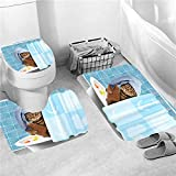 NUGKPRT Cortina de la Ducha,Cool Cat Animals Printed Bathroom Set Shower Curtain Anti-Slip Bath Mats Flannel Home Carpet Door Mats Toilet Lid Covers 3PCMatSet-D