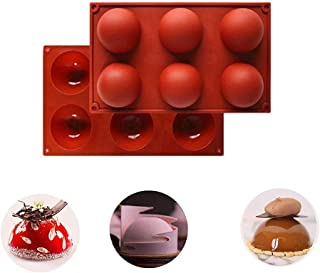 2Pcs Large 6-Cavity Semi Sphere Silicone Molds, Non Stick, BPA Free. Great For Hot Chocolate Bomb, Fancy Desserts, Jelly,...