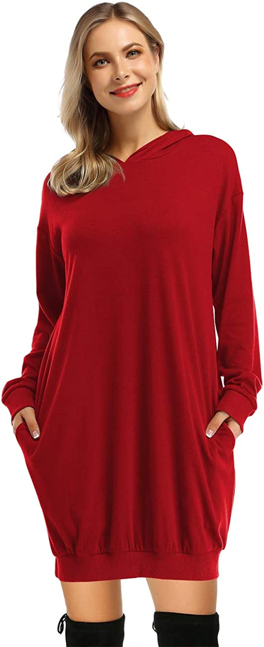 GloryStar Women's Hoodie Dress Pullover Hoody Dress Long Sleeve Hooded Pockets Tunic Sweatshirt