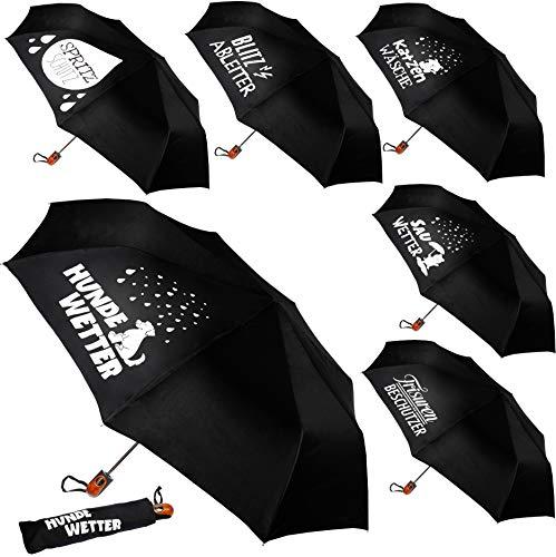 alles-meine.de GmbH 2 Stück _ Taschenschirme - AUTOMATIK -  lustige Sprüche  - schwarz - ø 100 cm - große Regenschirme / Kinderschirme / Erwachsenenschirme - Automatikregenschi..