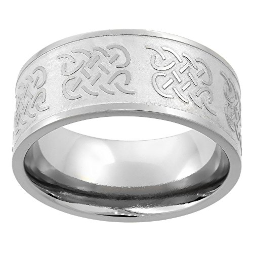 Sabrina Silver Titanium 10mm Wedding Band Celtic Knot Ring Flat Comfort Fit, Size 11