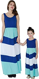 Mother and Daughter Stripe Stitching Dress Casual Long Maxi Beach Dress