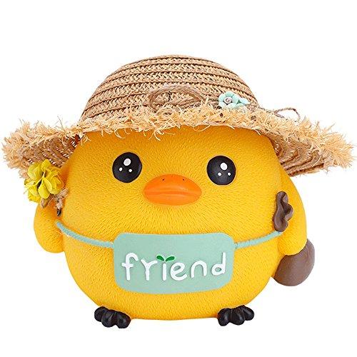 VIUNCE Piggy Bank/Chick Piggy Bank met strohoed het beste cadeau voor kinderen/woondecoratie/decoratie (verschillende maten) ambachten