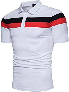 GREFER Men's Slim Short Sleeve Patchwork Fashion Personality T-Shirt Top Blouse