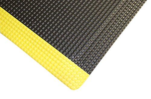 "Rhino Mats RFLX36BYRNSX34 Reflex Anti-Fatigue Rhino No-Slip Mat, Vinyl, 3' x 34' x 5/8"" Thickness, Black with Yellow Borders"