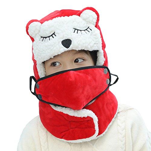 COIN Unisex-Kinder Mütze mit Ohrenklappen & Knuddelig Ohren Deko, Fellmütze Fliegermütze mit Loop-Schal & Gesichtsmaske für Jungen Mädchen, Blau Rot, 54cm