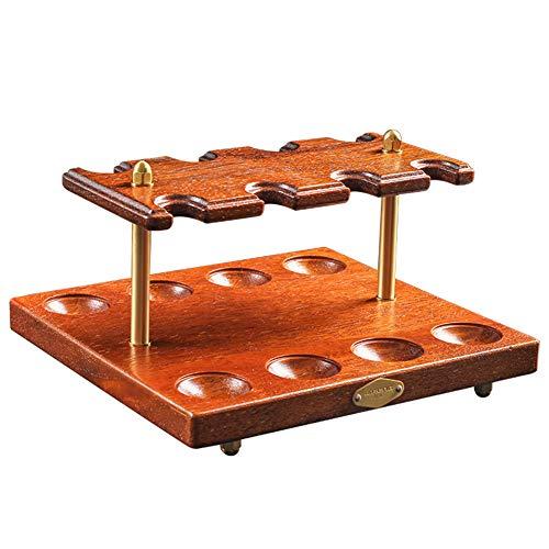 YXZN Pfeifen-Tabakständerhalter Ausstellungsregal Holzpfeifenständer für 8 Rauchpfeifen Handgefertigter Raucher-Tabakpfeifen-Zubehör Zigarrenpfeifenhalter