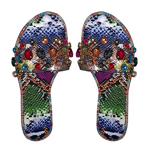 Jodimitty Chanclas de baño para mujer, sandalias de verano, zapatillas de casa, sandalias de verano, sandalias antideslizantes para interior y exterior (multicolor, 40 UE)