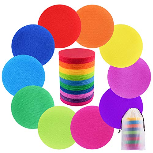 SIQUK 80 Pieces Carpet Spots Marker Hook and Loop Carpet Markers for Classroom, 10 Colors