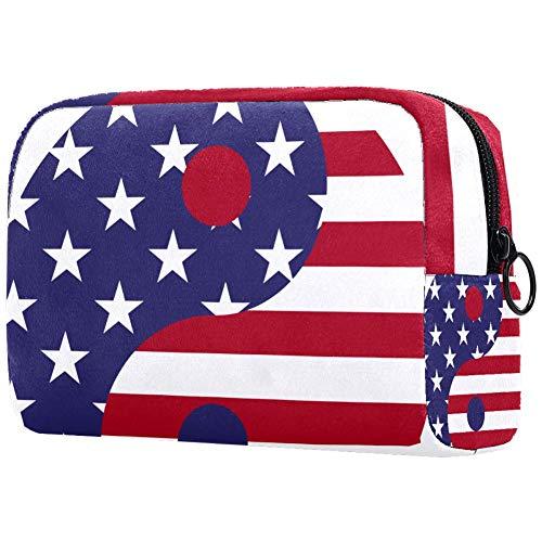 Kleine Make-up Tasche Amerikanische Flagge Tai Chi für Geldbeutel Reise Make-up Pouch Kosmetiktasche für Frauen Mädchen 18.5x7.5x13cm