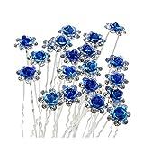 Contever Elegante 20 piezas para Mujer Suite de Diamante artificial U-en Forma de Horquillas Clips para el Cabello - Azul