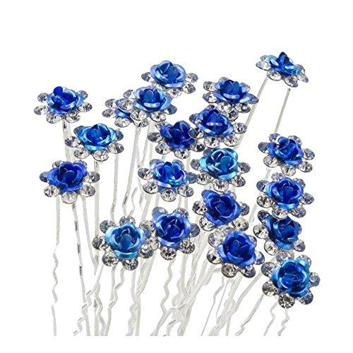 Contever® Elegante 20 piezas para Mujer Suite de Diamante artificial U-en Forma de Horquillas Clips para el Cabello - Azul