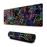 Trippy Psychedelic Art Extended Gaming Mouse Pad Large Mousepad with Stitched Edges, Keyboard Pads Mat for Gamer Computer Office Home 31.5x11.8 in