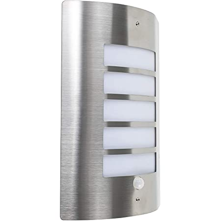 Modern Stainless Steel and Frosted Opal Lens Curved IP44 Rated PIR Motion Sensor Outdoor Garden Wall Mounted Security Light