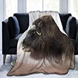 Fleece Blanket 50' x 60' Musk Ox Muzzle Horns Wool Home Flannel Fleece Soft Warm Plush Throw Blanket for Bed/Couch/Sofa/Office/Camping