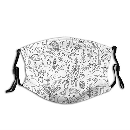 Hand gezeichnete australische Tierwelt Waschbarer Mund-Nasenschutz Wiederverwendbare Sonnencreme Halstuch Mundschutz Halstuch Bandana Tuch für Herren Damen