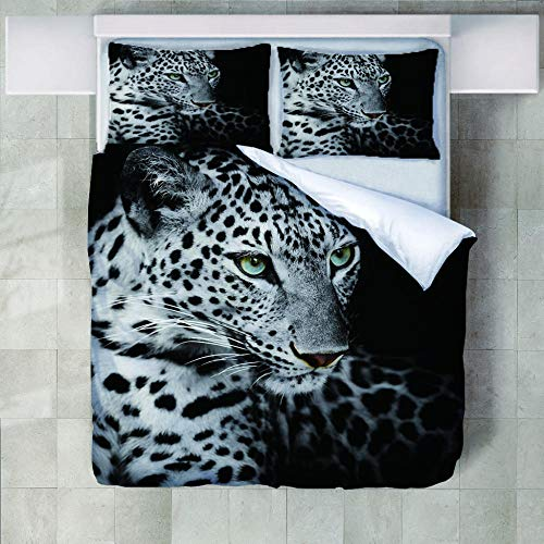 JNBGYAPS 3D Effect Printed duvet cover leopard Bedding set with Pillocases (with Zipper Closure) Soft Microfiber Quilt Cover Single200X200cm