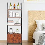 AiMiSa Ladder Shelf Wall Mounted Bookshelf with Drawers Bookcase 3 Tier Open Shelves, Open Storage Shelves Storage Rack with Metal Frame for Home, Living Room, Home Office (Rustic Brown)