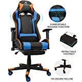 Gaming Chair Racing Style Office Computer Chair Massage Ergonomic PU Leather PC Chair with Lumbar Pillow Headrest Armrest Footrest Adjustable Swivel High-Back (Blue)