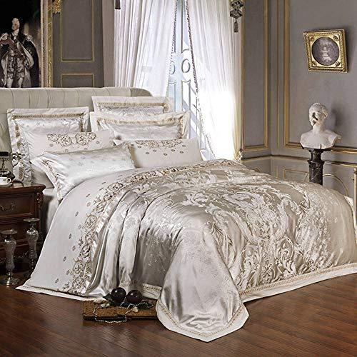 YIEBAI 4/6pcs Jacquard Silk Cotton Luxury Bedding Set Bed Set Embroidery Duvet Cover Bed Sheet Pillowcase,4,King Size 6pcs