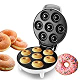 Máquina para hacer donuts, ayudante de cocina, antiadherente, calefacción automática, para preparar donuts, desayunos, tortitas, pan, 1200 W (gofrera en forma de donuts), para hasta 7 bagels/donuts,