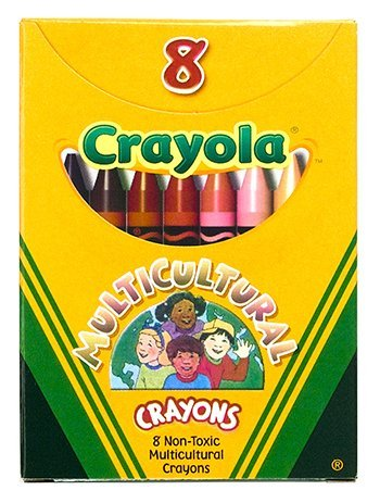 Crayola : Multicultural Crayons, Wax, Standard Size, Eight Skin Tone Colors per Box -:- Sold as 2 Packs of - 1 - / - Total of 2 Each