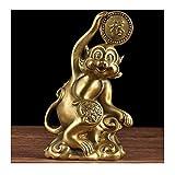 Decoración de escritorio Latón mono estatua zodiaco mono feng shui decoración del hogar oficio artes...