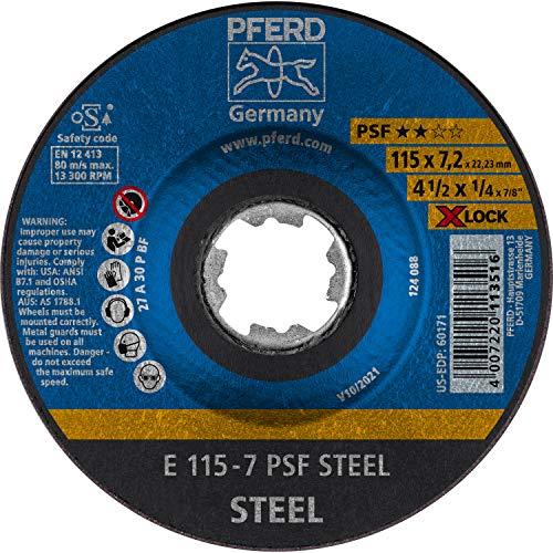 PFERD Schruppscheibe, 10 Stück, 115 x 7,2mm, X-LOCK (22,23 mm), PSF STEEL, 62011115 – für schnelle und komfortable Werkzeugwechsel
