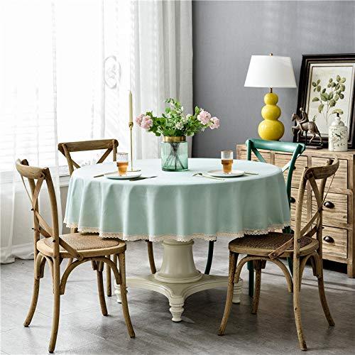 ShiyueNB waterdichte puur pigmentkleur imitatiekatoen en linnen vierkant kant kant ronde tafel salontafel tafelkleed tafelkleed Rund 160cm Grijs + punt (waterdicht).
