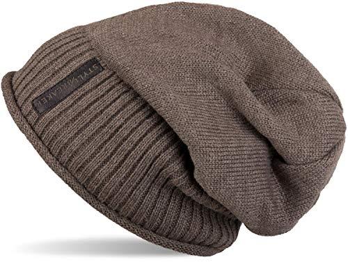 styleBREAKER warme Feinstrick Beanie Mütze mit sehr weichem Fleece Innenfutter, Unisex 04024065, Farbe:Taupe