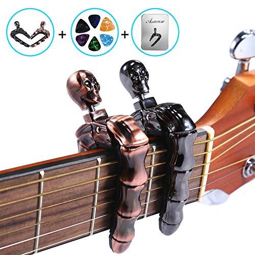 Asmuse Cejilla Guitarra Española Electricas Clásica Electrica Acustica Clasica Folk Ukelele Bajo instrumento guitar Skeleton Capo Ligero Aleación de Aluminio con 6 selecciones guitarra-2 piezas