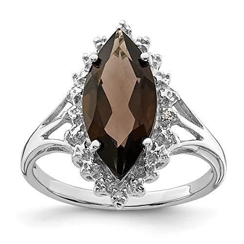 Plata de Ley rodio Smokey cuarzo del diamante en bruto Anillo - tamaño P 1/2 - JewelryWeb
