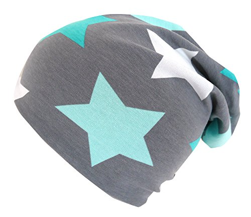 Wollhuhn ÖKO Long-Beanie, Wende-Mütze, ganzjährig, Big Stars grau/Mint, Innenseite Uni grau, Mädchen und Jungen, 20150614 (L: KU ab 54 (darüber/Erwachsene), Big Stars grau/Mint)