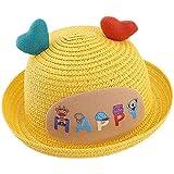 夏の子供たち太陽の麦わら帽子旅行キャップ愛の心の手紙の広い帽子の帽子1-3歳の幼児の女の子の男の子の帽子,イエロー