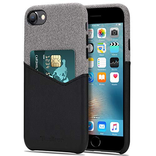 Tasikar Cover iPhone SE 2020 / Cover iPhone 7 / Cover iPhone 8 Custodia Portafoglio in Pelle e Tessuto con Sottile Custodia Porta Carte di Credito Compatibile con iPhone SE 2020/7 / 8 (Nero)