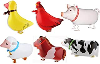 Borang 11 Pack of 6 Walking Farm Animal Balloon Birthday Bbq Party Décor(Pony,Duck,Rooster,Cow,Pig,Sheep)