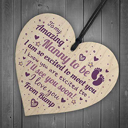 RED OCEAN Handmade Nan Nanny To Be Gift Funny Novelty Wooden Hanging Heart For New NAN Grandma