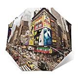 Paraguas Plegable Automático Impermeable Nueva York Agosto, Paraguas De Viaje Compacto A Prueba De Viento, Folding Umbrella, Dosel Reforzado, Mango Ergonómico