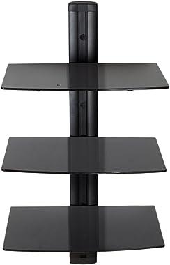 TecTake Etagère Murale en Verre pour lecteurs DVD Blu-Ray Console de Jeu PS3 PS4 Xbox One 360 et décodeur (3 étagères Noir |