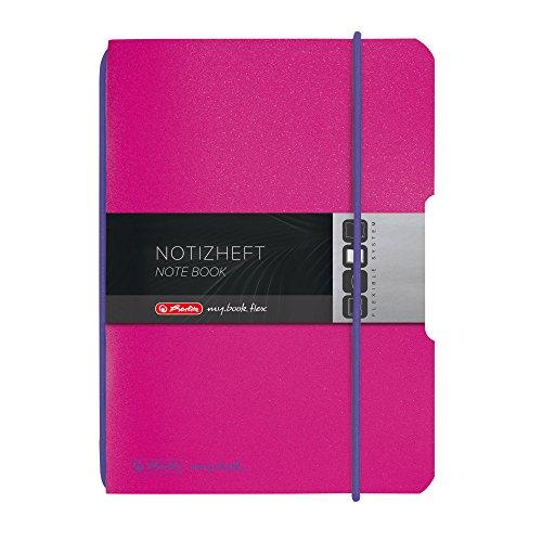 herlitz Notizheft flex, PP, A6, 40 Blatt kariert, pink