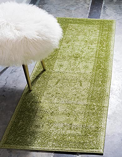 Unique Loom La Jolla Collection Tone-on-Tone Traditional Light Green Runner Rug (2' 2 x 6' 0)