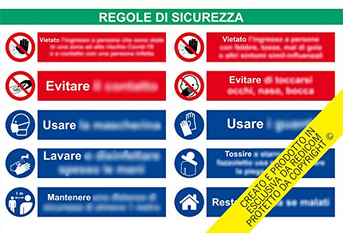 Generico Cartello Covid 19'Regole di Sicurezza - 34x50 cm - 2 Pezzi - Adesivo plastificato per Esterni