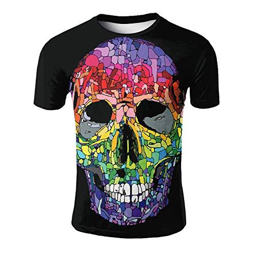 ASHGNV Colorful Skull Pattern Camiseta para Hombre con Estampado en 3D, Camisetas Informales de Verano de Secado rápido, Novedad, Camiseta de Manga Corta-XL