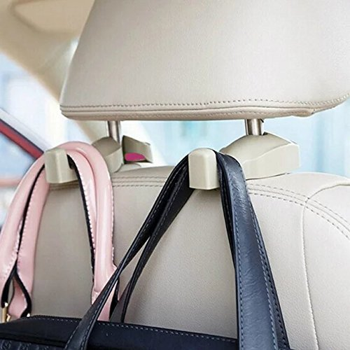 IPELY Universal Car Vehicle Back Seat Headrest Hanger Holder Hook for Bag Purse Cloth Grocery (Beige -Set of 2)