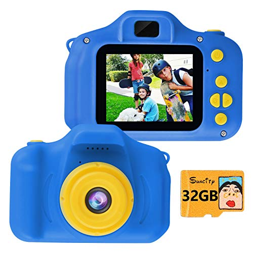 SUNCITY Boy Gifts Toys Kids Digital Camera Age 3 4 5 6 7 8 9 10 Birthday Present Video Camera Rechargeable 2.0 Inch Screen 1080P Video(32GB Memory Card Included, Dark Blue)