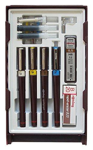 Cuatro plumas rapidograph (0.25 mm, 0.35 mm, 0.50 mm y 0.70 mm) con puntas cromadas y sistema de cartucho mejorado Sistema de presión equilisation que incluye hélice de tinta para una sensación con cada cambio de tinta Las plumas incluyen depósito de...