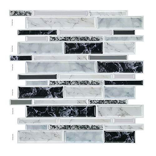 decalmile 10 Stück 3D Fliesenaufkleber 30,5cm x 30,5cm Dunkel Grau Silber Mosaik Marmor Selbstklebende Wandfliesen Fliesensticker Küche Esszimmer Bad Fliesenfolie Deko