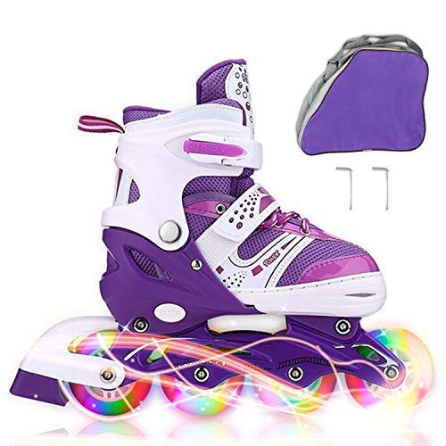 JIFAR Youth Children's Inline Skates for Kids, Adjustable Inlines Skates with Light Up Wheels for Girls Boys, Indoor&Outdoor Ice Skating Equipment Medium Size(2-5 US), Purple